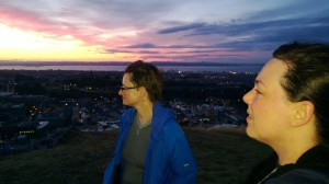 ERD's stage manager Heather Olmstead and director Aimee Todoroff enjoying the view from atop Arthur's Seat